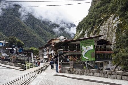 AGUAS CALIENTES, PERU - JANUARY 3, 2018: Small town Aguas Calientes in Peru. This town is an entry point for visiting Machu Picchu ruins.