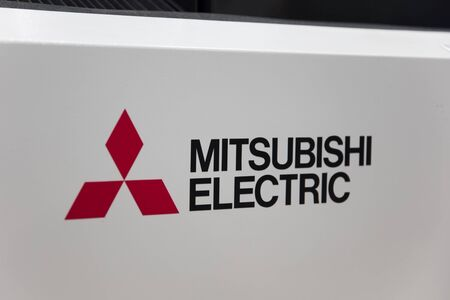 HANOVER, GERMANY - OCTOBER 25, 2018: View at Mitsubishi Electric sign in Hanover, Germany. It is a Japanese multinational electronics and electrical equipment manufacturing company.
