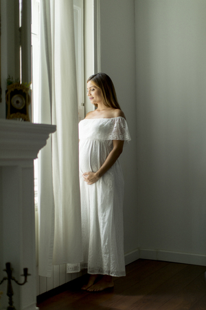 Pretty young pregnant woman standing by the window Reklamní fotografie