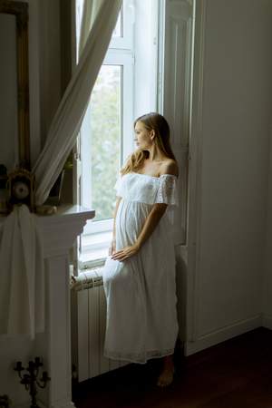 Pretty young pregnant woman standing by the window Stock Photo