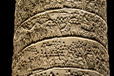 Detail of the Trajan column in Rome, Italy. Column was completed in AD113, and commemorates Roman emperor Trajans victory in the Dacian Wars. 写真素材