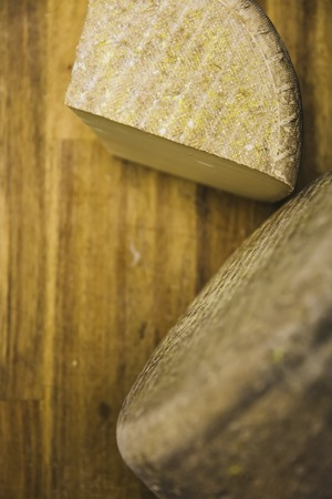 Traditional Auvergne cheese  on the wooden table