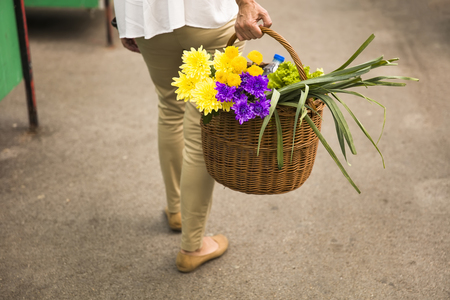 Woman holds a basket with flowers on market Stockfoto