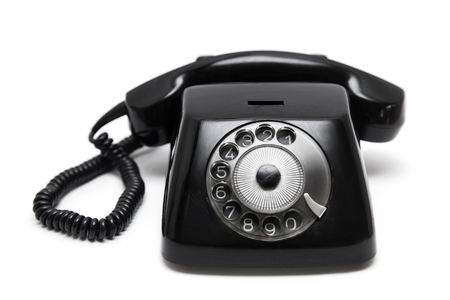 Black vintage telephone  isolated on the white background Stock Photo - 117227343