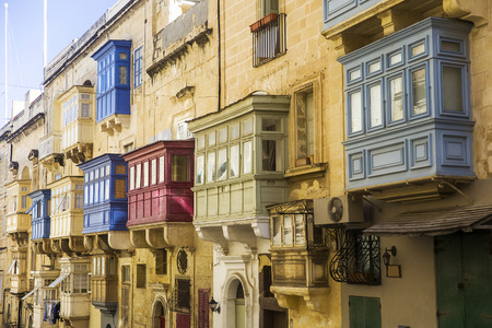 Old beautiful houses in the centre of the capital city Valetta in Malta Banco de Imagens