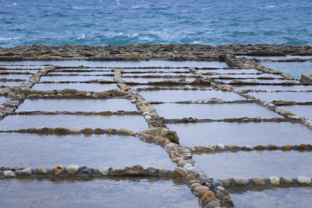 View at Salt Pans on Gozo Island at Malta Stock fotó