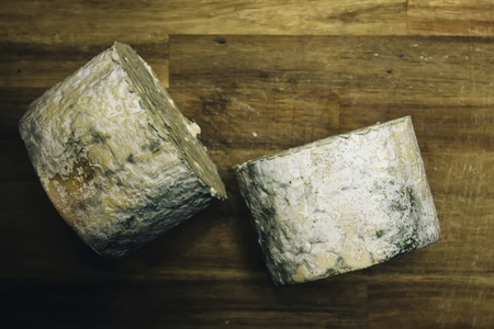 Detail of the mild blue Auvergne cheese Fourme d'Ambert from France