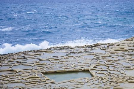 View at Salt Pans on Gozo Island at Malta Zdjęcie Seryjne