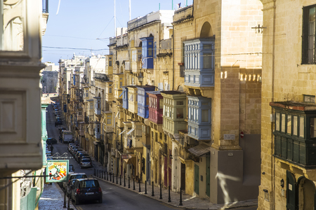 Old beautiful houses in the centre of the capital city Valetta in Malta Stock Photo