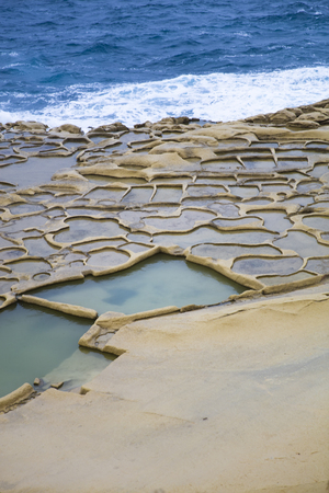 View at Salt Pans on Gozo Island at Malta 写真素材