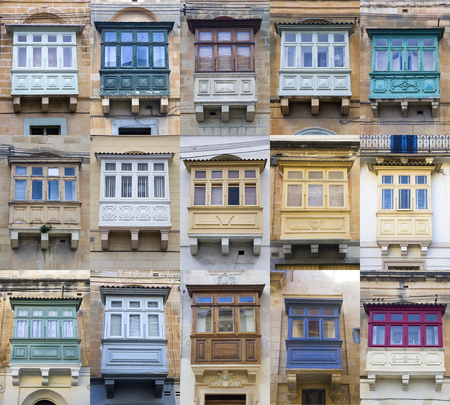 Set of traditional balcony window on a building from Malta Banco de Imagens