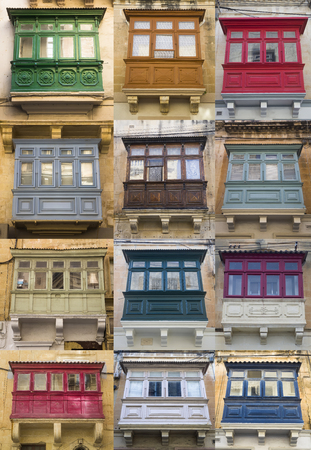 Set of traditional balcony window on a building from Malta 写真素材