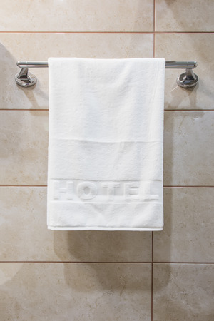 Closeup of the clean white towels in the hotel