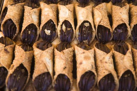 Traditional maltese cannoli on the Marsaxlokk Open Market