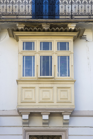 Traditional balcony window on a building from Malta