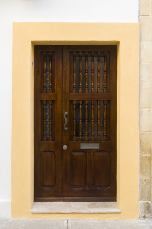 View at traditional front door from building on Malta 写真素材