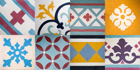 Set of colorful traditional balinese ceramic tile with geometric shape