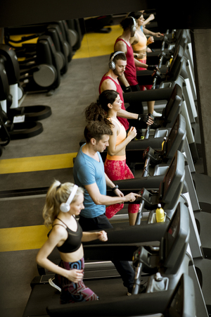 Top view at group of young people running on treadmills in modern sport gym