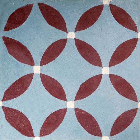 Colorful traditional balinese ceramic tile with geometric shape