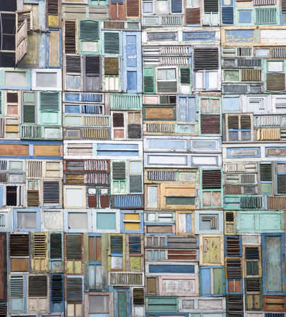 Collage of the old wooden windows backdrop