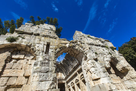 Remains of ancient Roman temple of Diana in Nimes, France 版權商用圖片