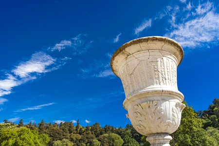 Statue of vase from Les Jardins de La Fontaine in Nimes, France Stock Photo