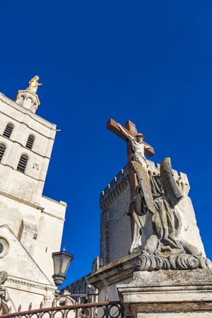 View at Avignon Cathedral of Our Lady of Doms in France