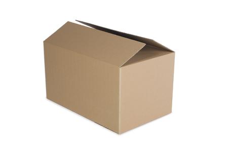 Boîte en carton fermée isolé sur fond blanc Banque d'images