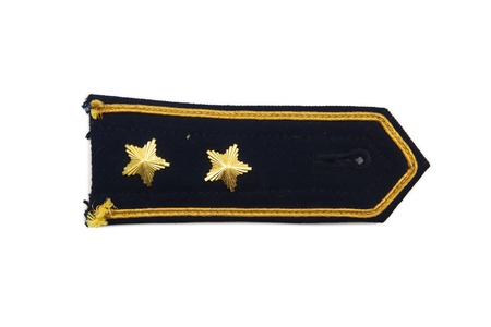 Shoulder straps with two stars of military ranks isolated on the white background