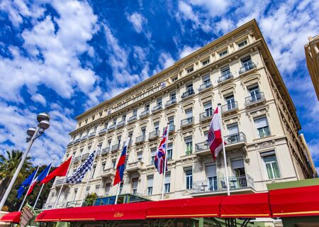 NICE, FRANCE - MAY 1, 2019: Hotel West End Nice in France. It is Belle Epoque style hotel on the Promenade des Anglais, Nice, built in 1842.