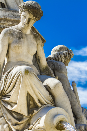 Detail of Pradier fountain at Esplanade Charles-de-Gaulle in Nimes, France 스톡 콘텐츠