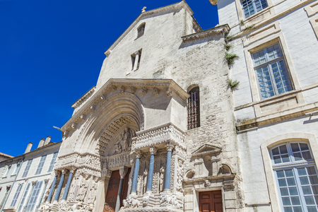 View at Saint Trophime Church in Arles, France Stock Photo