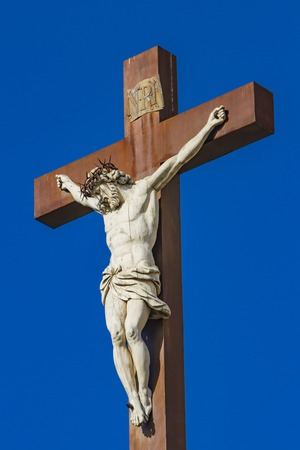 Jesus Christ on the Cross in front of Avignon Cathedral in France