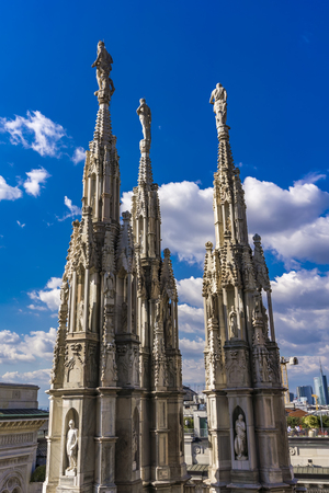 Gothic rooftop terraces of Milan Duomo in Italy
