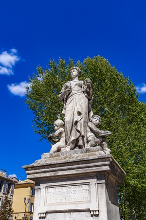 Statue of Industries et Arts Decoratifs at Cours Mirabeau in Aix-en-Provence, France, made by Francois Trupheme at 1883