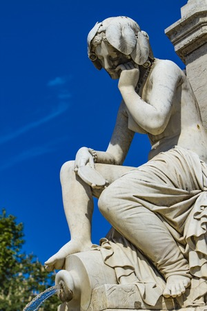 Detail of Pradier fountain at Esplanade Charles-de-Gaulle in Nimes, France Stock Photo - 122222493