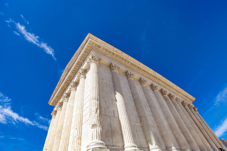 View at Maison Carree Roman temple in Nimes, France Stock Photo