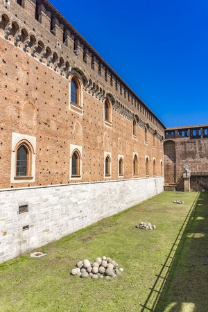 Stone walls of Sforza Castle in Milan, Italy 스톡 콘텐츠