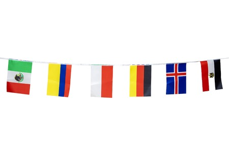 Triangle flags of various countries hanging on the rope, isolated on the white background Stock Photo