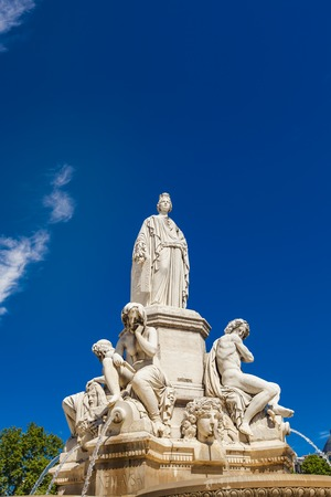 Detail of Pradier fountain at Esplanade Charles-de-Gaulle in Nimes, France Stock Photo