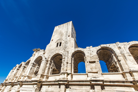 Detail of the Arles Amphitheatre in France Stok Fotoğraf