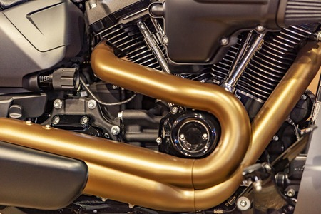 Closeup detail of the shiny motorcycle engine