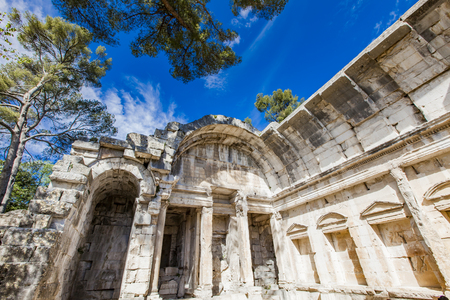 Remains of ancient Roman temple of Diana in Nimes, France Banco de Imagens