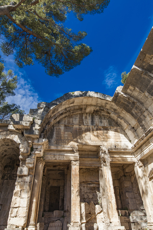 Remains of ancient Roman temple of Diana in Nimes, France Imagens