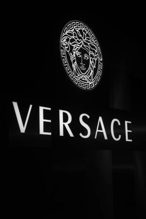 DOHA, QATAR - JANUARY 21, 2019: Detail from Versace shop in Doha, Qatar. It is an Italian fashion company founded by Gianni Versace in 1978.