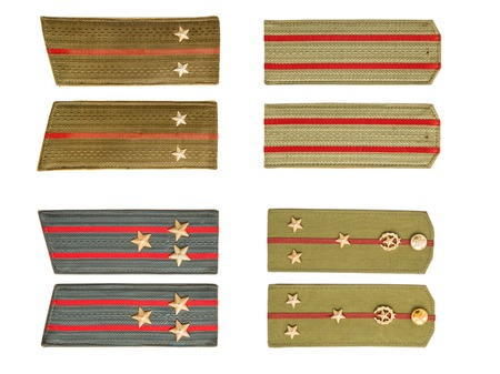 Set of Soviet army officer shoulder straps isolated on the white background