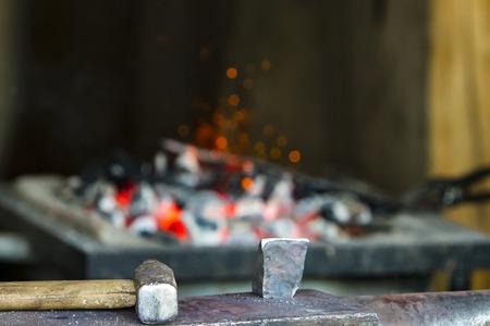 Closeup detail of the vintage blacksmith workshop Фото со стока - 123330073