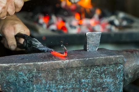 Closeup detail of the vintage blacksmith workshop