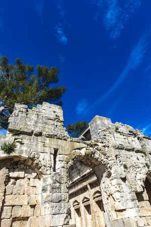 Remains of ancient Roman temple of Diana in Nimes, France Editorial
