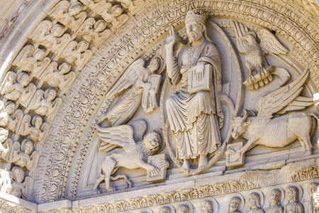 Closeup detail from the facade of Saint Trophime church in Arles, France